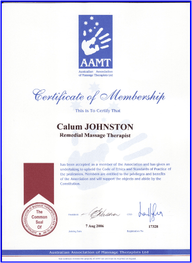 Australian Association of Massage Therapists Certificate