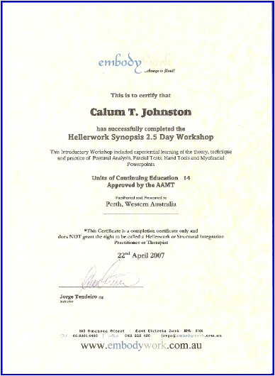 Hellerworks Synopsis Training Completion